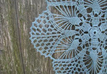 Crochet doily, aquamarine lacy, round doily, floral motif