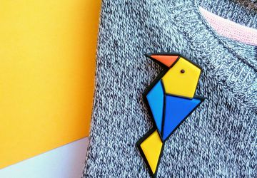 Origami style bird brooch handmade from polymer clay