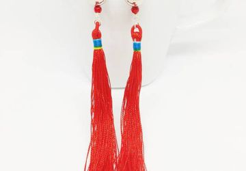 Long Fringe Tassel Earrings Red Tassel Silver Drops Boho jewelry bestselling gift for her