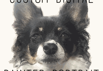 Digital painted pet portrait from photo