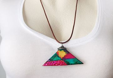 Polymer Clay Triangle Pendant Necklace, Handpainted Necklace, Vibrant Jewelry