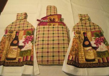 Wine Design Quilted Hanging Towel Gift Set