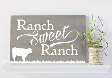 Ranch Sweet Ranch, Ranch Sign, Cow Sign, Farmhouse Decor, Rustic Decor, Gifts under 50, Ranch Style, Cattle, Wooden Sign, Gifts for Rancher