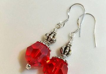 Red Glass Earrings, Handmade Red Earrings, Sterling Silver Earrings, Gifts for Her, Bridal Jewelry,Vintage Style, Mother's Day Gift