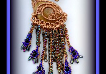 SOLD: Wire Wrap Weave Beaded Peacock in Copper...Brooch