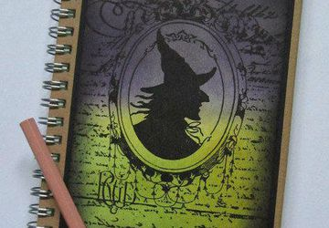 Hand made notebook Witch notebook, magic notebook C6 hard cover book Lined notebook Pagan gift Halloween gift