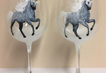 Wine Glasses -Winter Unicorn