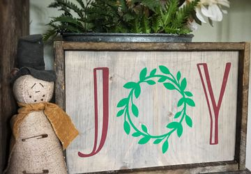 Joy Sign, rustic country Christmas sign, peace love joy