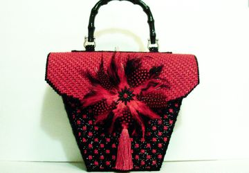 Red and Black Feathered Handbag