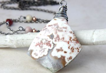 Rosita Jasper Necklace Oxidized Silver Mixed Metal Natural Gemstone Jewelry  Gem Stone Pendant