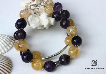 Wristlet with citrine and amethyst
