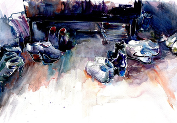"A watercolor painting ""Guests"""