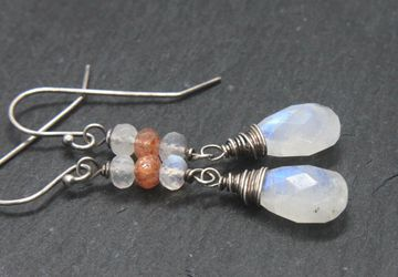 Moonstone Earrings Oxidized Silver June Birthstone  Jewelry