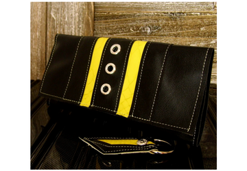 Womens Black Wallet, Yellow Vegan Wallet, Black and Yellow Trifold Wallet, Wallet and Key Set, Womens Long Wallet