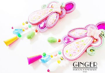 Hippie Colorful earrings, beaded frindge earrings, pink soutache earrings, boho pink earrings, free ship, textile earrings, kawaii earrings