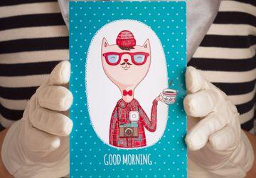Открытка Good Morning (хипст. син.)
