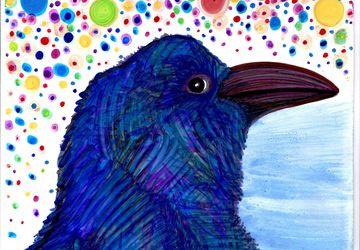 Black bird in blue