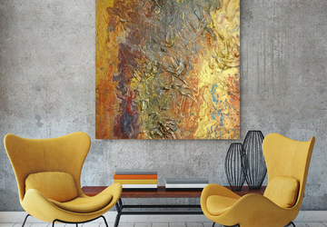 Large Gold Textured Abstract Art On 30 x 40 inch Canvas, Orange and Gold Acrylic Pour Wall Art, Modern Painting