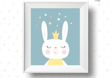 White rabbit with stars, children wall art