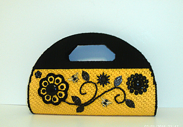 Floral Jeweled Black and Yellow Purse