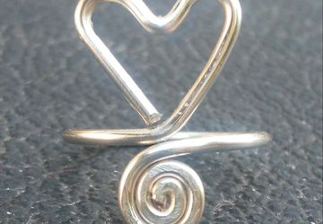 Wirewrapped Heart Swirl Ring Free US shipping
