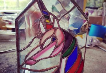 Hand Made OOAK Rainbow Unicorn Stained Glass Box w/ Miniature Fantasy Scene