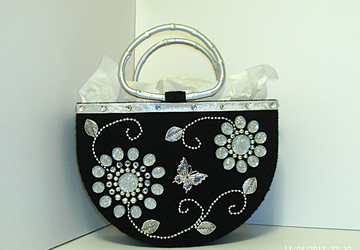Black and Sliver Jeweled Tote bag