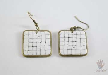 Portuguese Cobblestone Squared Earrings - BQDC-10-28
