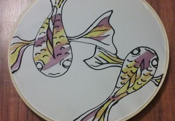 Koi Fish Painting on Silk measuring 10""