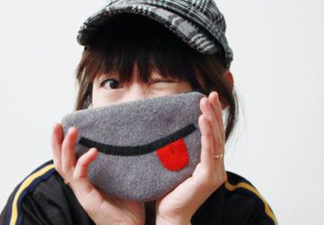 iPhone or Camera Pouch or Coin Purse - The Cheeky Smile in Gray