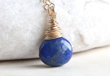 Lapis Lazuli Necklace Gold Drop Necklace  December Birthstone Jewelry