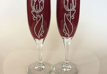 Two unique decorative flute glasses