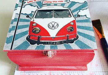 VW life is an adventure enjoy the ride!  wooden box Volkswagen