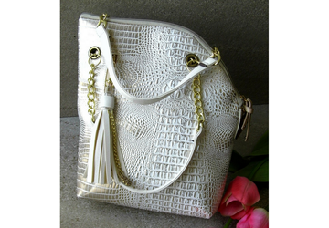 SOLD-Off white handbag, Large vegan leather bag, Oversized purse with handles, Faux crocodile bag, White bag gold chain, Unique design handbag