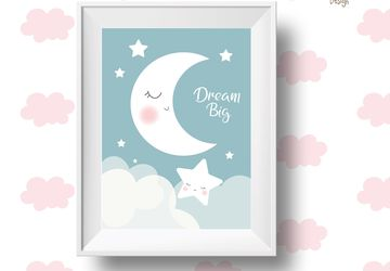 Dream big, moon and stars, children wall art