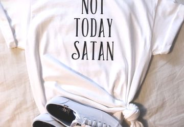 Not Today Satan T-Shirt Mom Tee Mother Tshirt Girl Power Patient Mom Words Parenting TShirt Patience Breathe Crazy Mamma Fashion