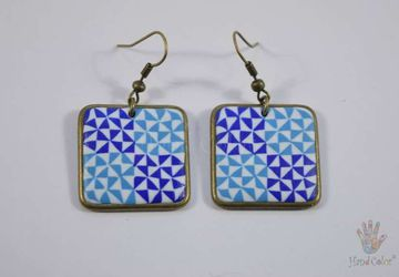 Portuguese Ceramic Tiles Squared Earrings - BQDA-2-62