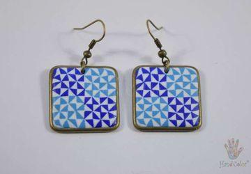 Portuguese Ceramic Tiles Squared Earrings - BQDA-2-62
