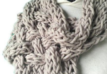 Woven gray finger knitted single wrap infinity scarf, unique, warm