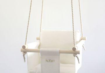 Byel Basic natural indoor baby swing chair. Linen nursery decore, baby indoor fun