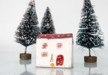 Little clay house with golden details, Christmas home decor, Handmade Red Ceramic House