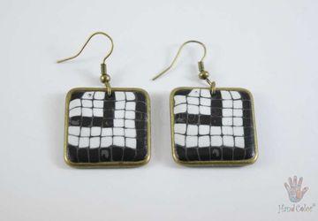 Portuguese Cobblestone Squared Earrings - BQDC-12-28