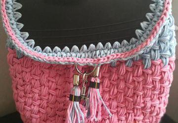 Backpack Crochet InnerTube Bag Free Shipping!!! /Handmade Backpack/Innertube flap/ Boho Style/Pink and Blue color