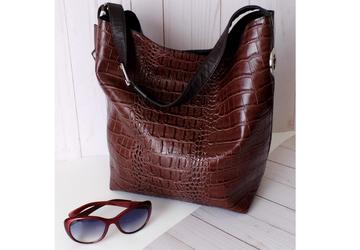 SOLD - Brown  Vegan Leather Tote Bag
