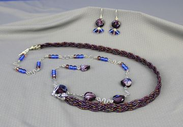 Purple lariat necklace and earring set, glass beads, silver plated wirework