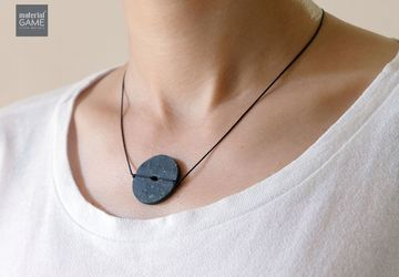Minimalist jewelry - Concrete necklace | Simple and stylish | Circular pendant | Handmade necklace | Grey | String | Unique gifts (Women)