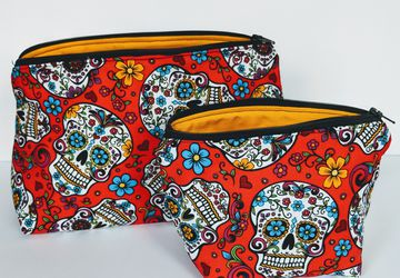 Matching Red Sugar Skull Travel Bag, Travel Cases, Cosmetic Bag, Zipper Bag, School Supply Bag, Organizer, Gift under 20