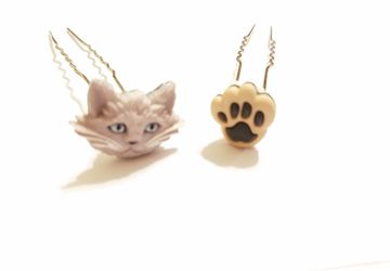 Very Cute Gray Cat and Paw Hair Pin Set #13