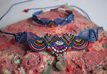 Macrame hippie necklace/bracelet / Colorful jewelry/ Blue jewelry/ Macrame choker necklace unique design/Choker necklace /Ankle bracelet