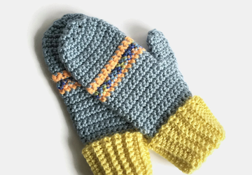 Blue and Yellow Adult Crocheted Mittens